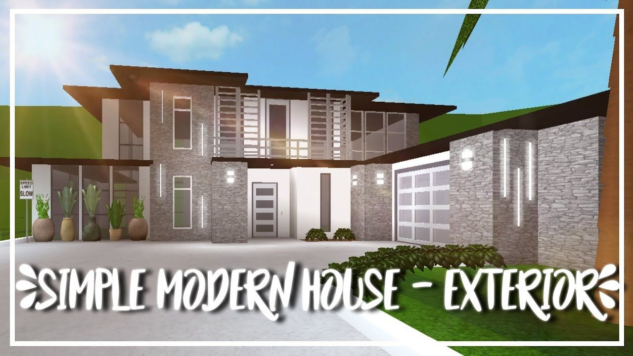 Roblox Welcome To Bloxburg Speed Build Simple Modern House Exterior In 2020 Modern House Exterior House Exterior Two Story House Design
