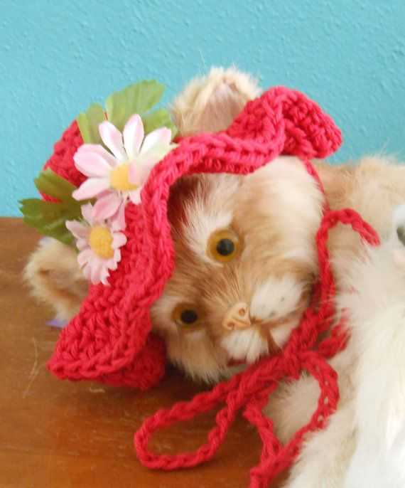 Crocheted Cat or Dog Sunhat Summer Pet Bonnet Spring by Fancihorse - inspiration only.