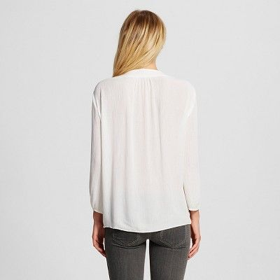 Women's Long Sleeve Blouse White M - Mossimo