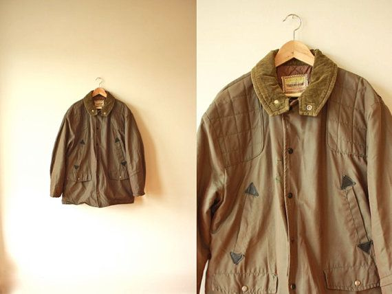 Vintage Quilted Hunting Jacket Green Leather By Flickaochpojke