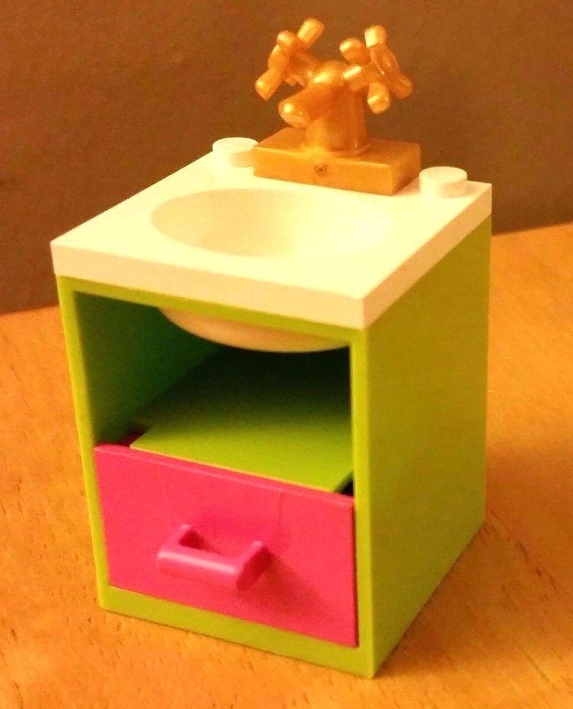 City Friends LEGO Custom Furniture BATHROOM SINK Medium Blue White Basin Drawer