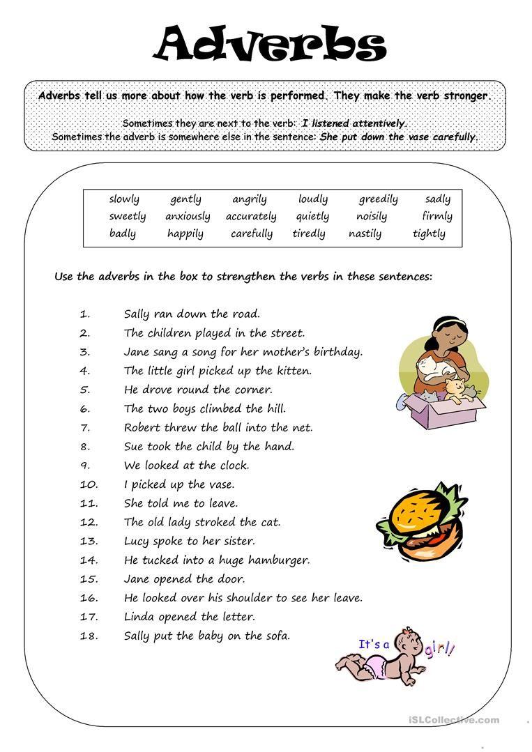 ADVERBS English grammar, Grammar worksheets
