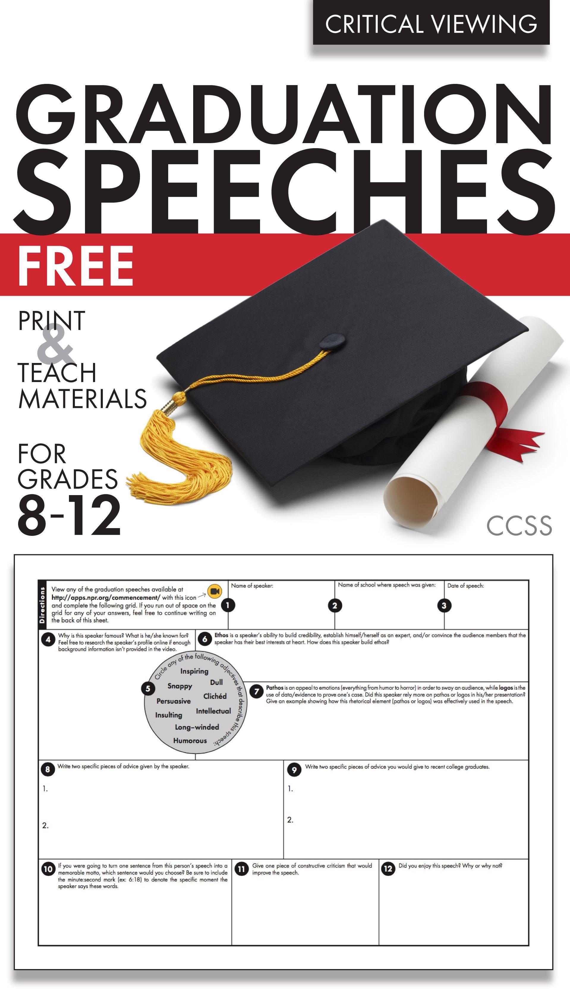 Graduation Speechysis Free Video Based Lesson Sub