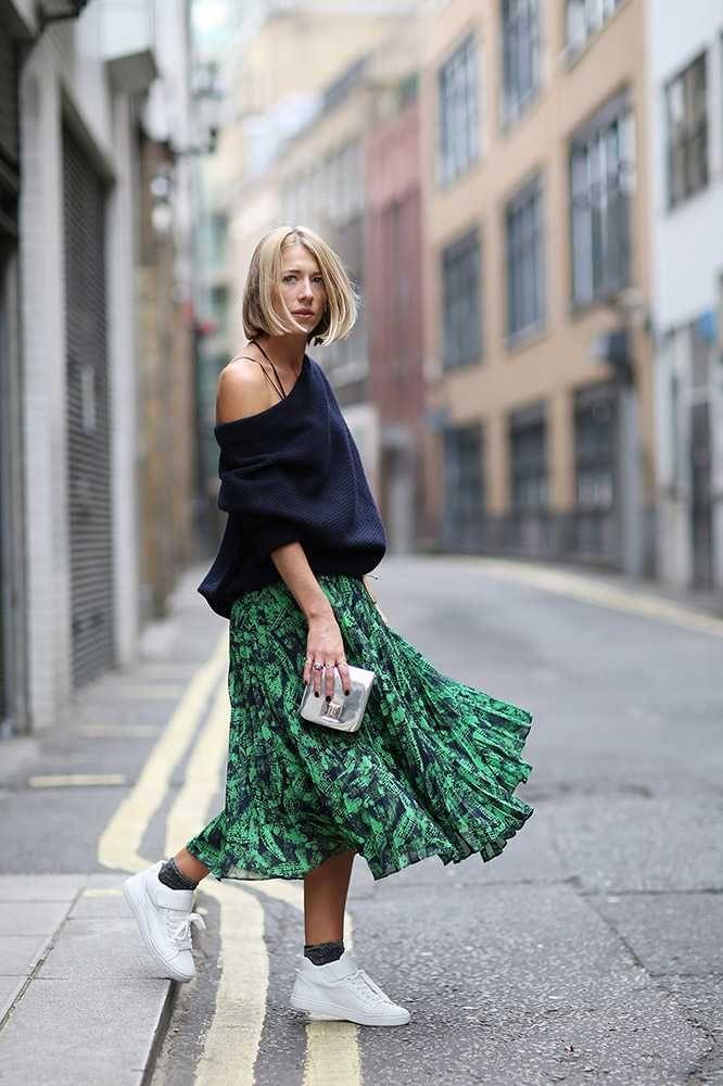 Women's Navy Oversized Sweater, Green Print Chiffon Midi Skirt ...