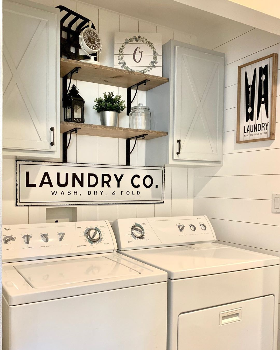 Farmhouse With Grace on Instagram  beforeandafter is always a fun way to begin the day  laundryroommakeov