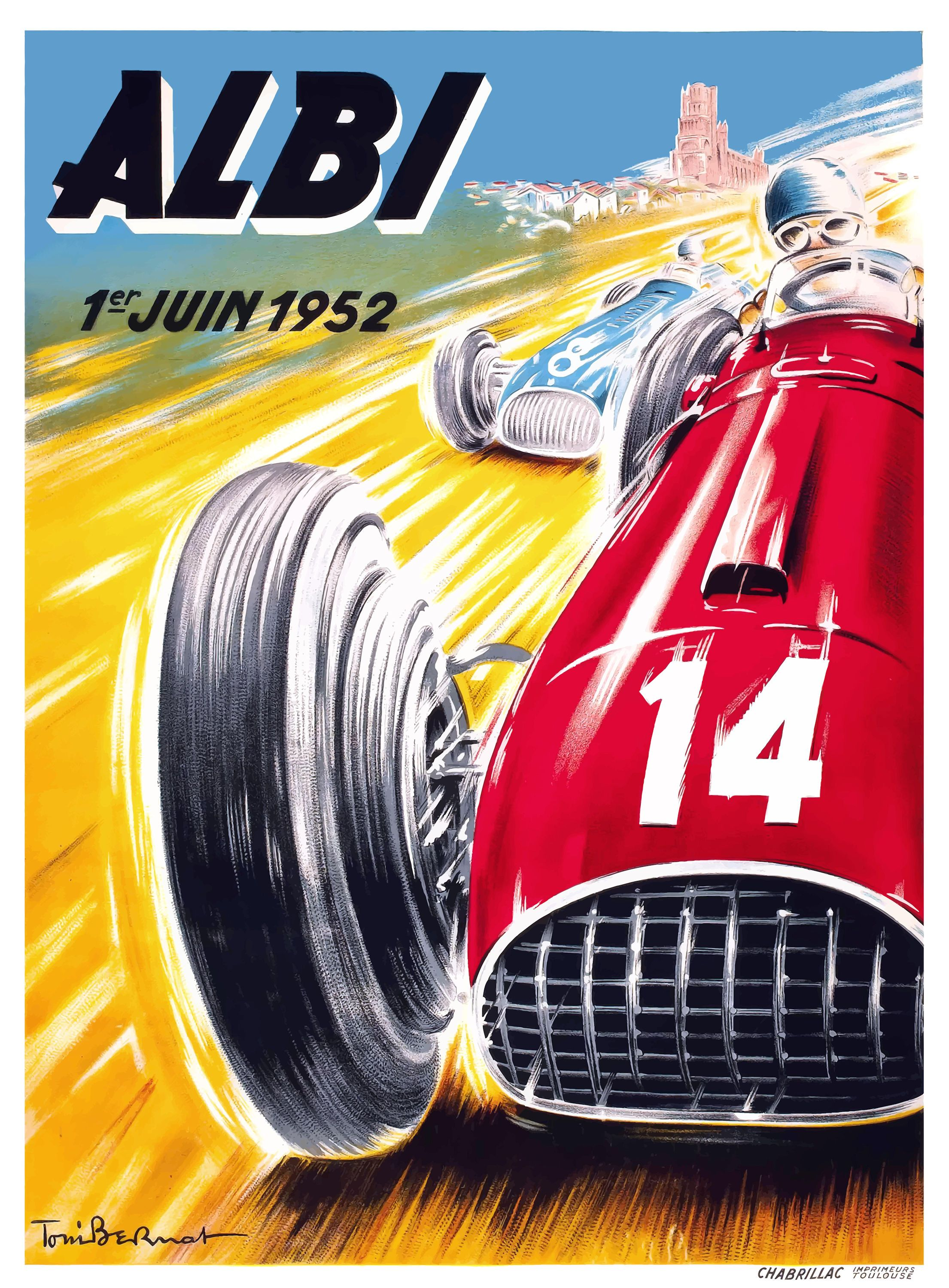 1952 Albi Grand Prix Automobile Race Poster By Retro Graphics In 2020 Auto Racing Posters Vintage Racing Poster Racing Posters