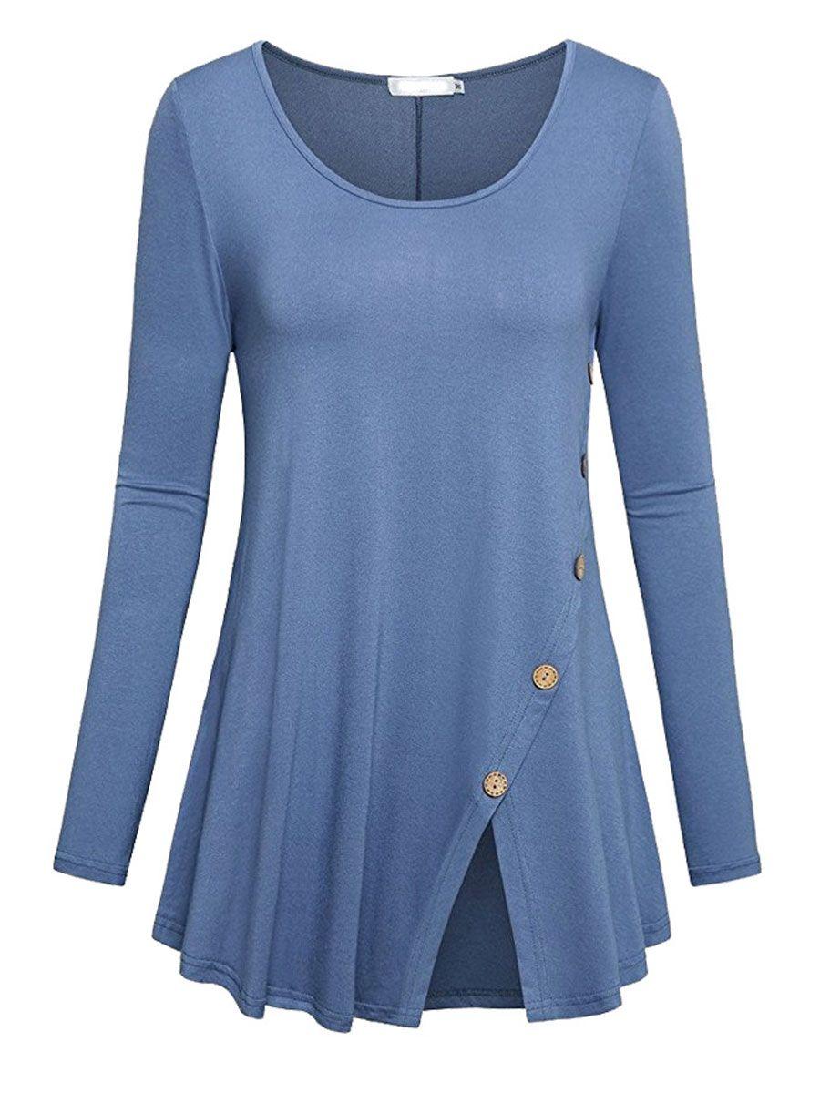 78e40ef6b6cbb6 Autumn Spring Cotton Women Round Neck Slit Decorative Button Plain Long  Sleeve T-Shirts
