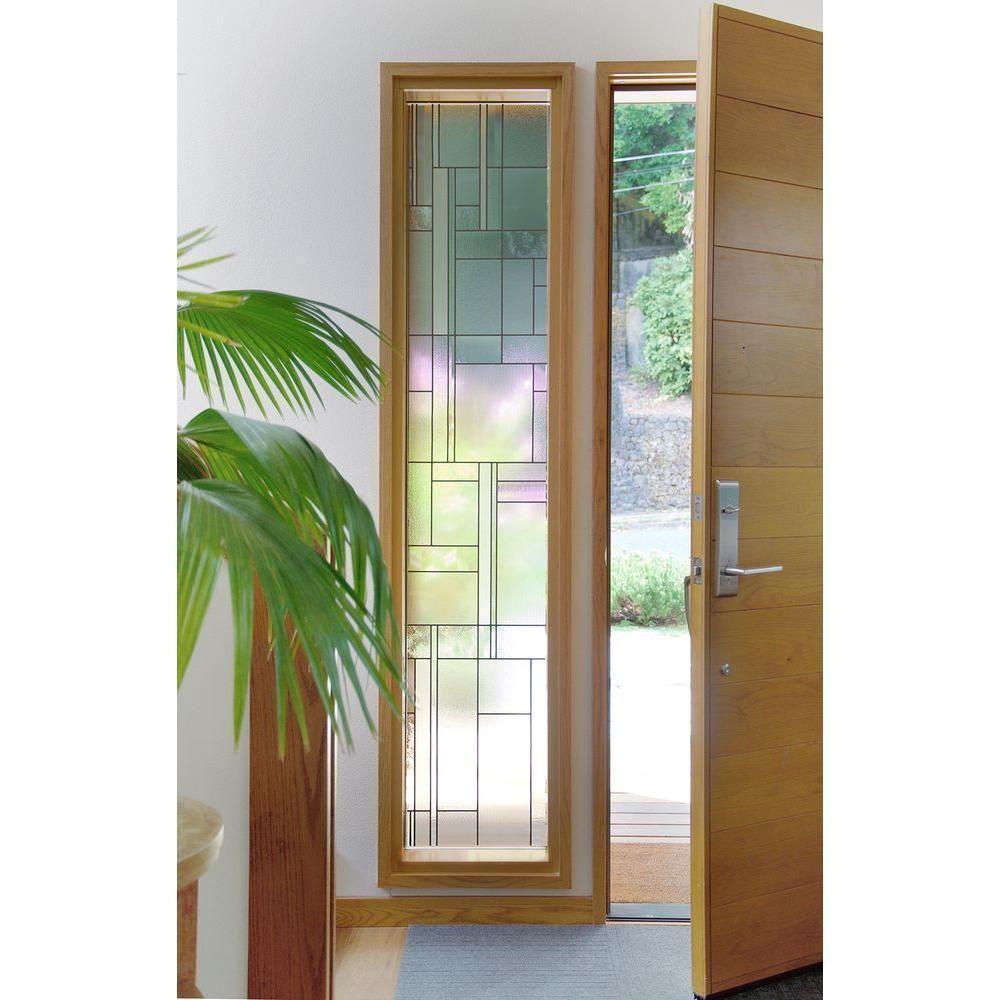 Skyline Decorative Window Film Front Door Stained Glass Style Uv