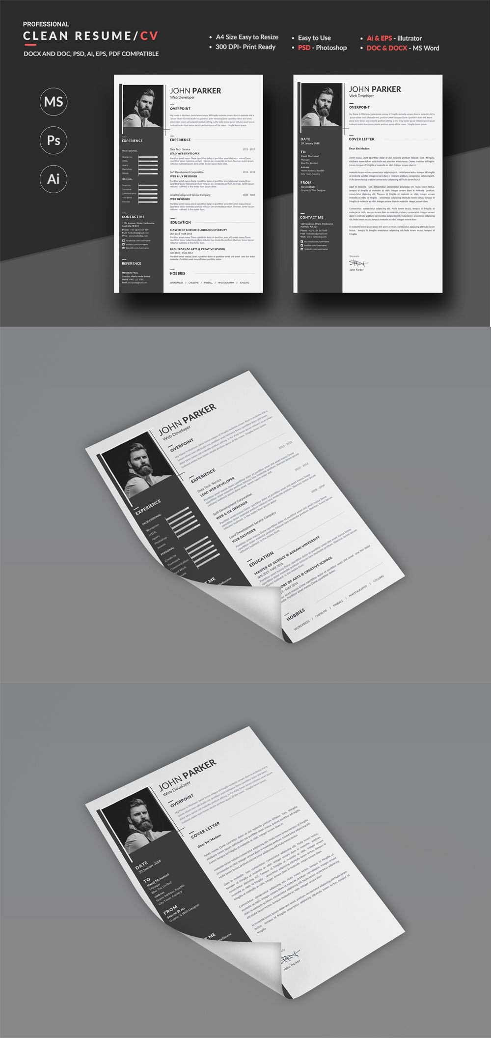 Resume / Cv Templates PSD Unique resume template, Resume