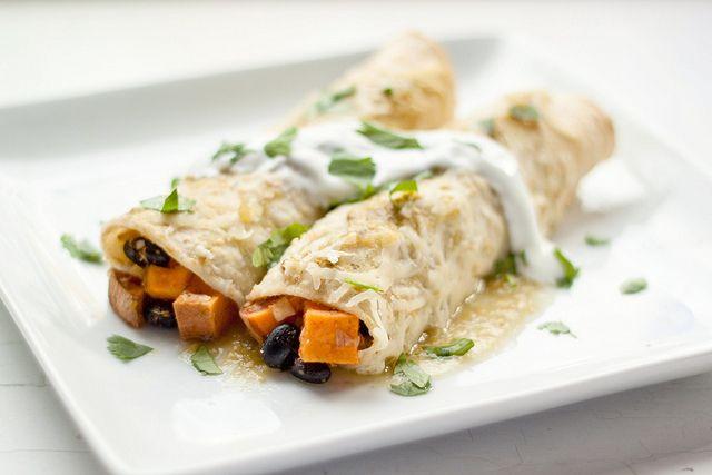 Sweet Potato, Black Bean and Green Chile Enchiladas made with vegan ingredients #vegetarian #recipe