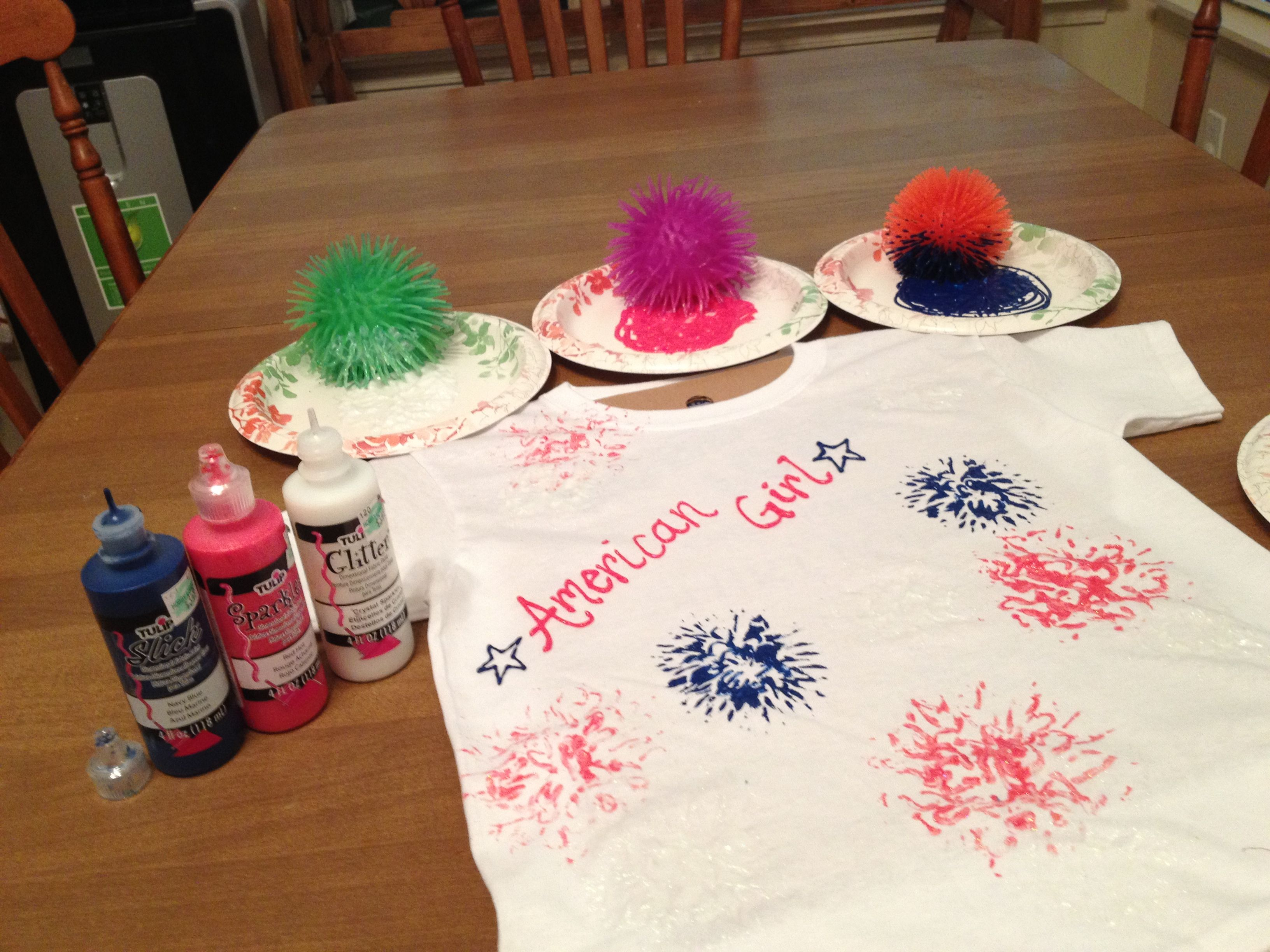 Puffy paint designs - Just Use Puff Paint And Those Squishy Spiky Balls From The Dollar Store Just Stamp The Balls Into The Paint And Stamp Onto The Shirt