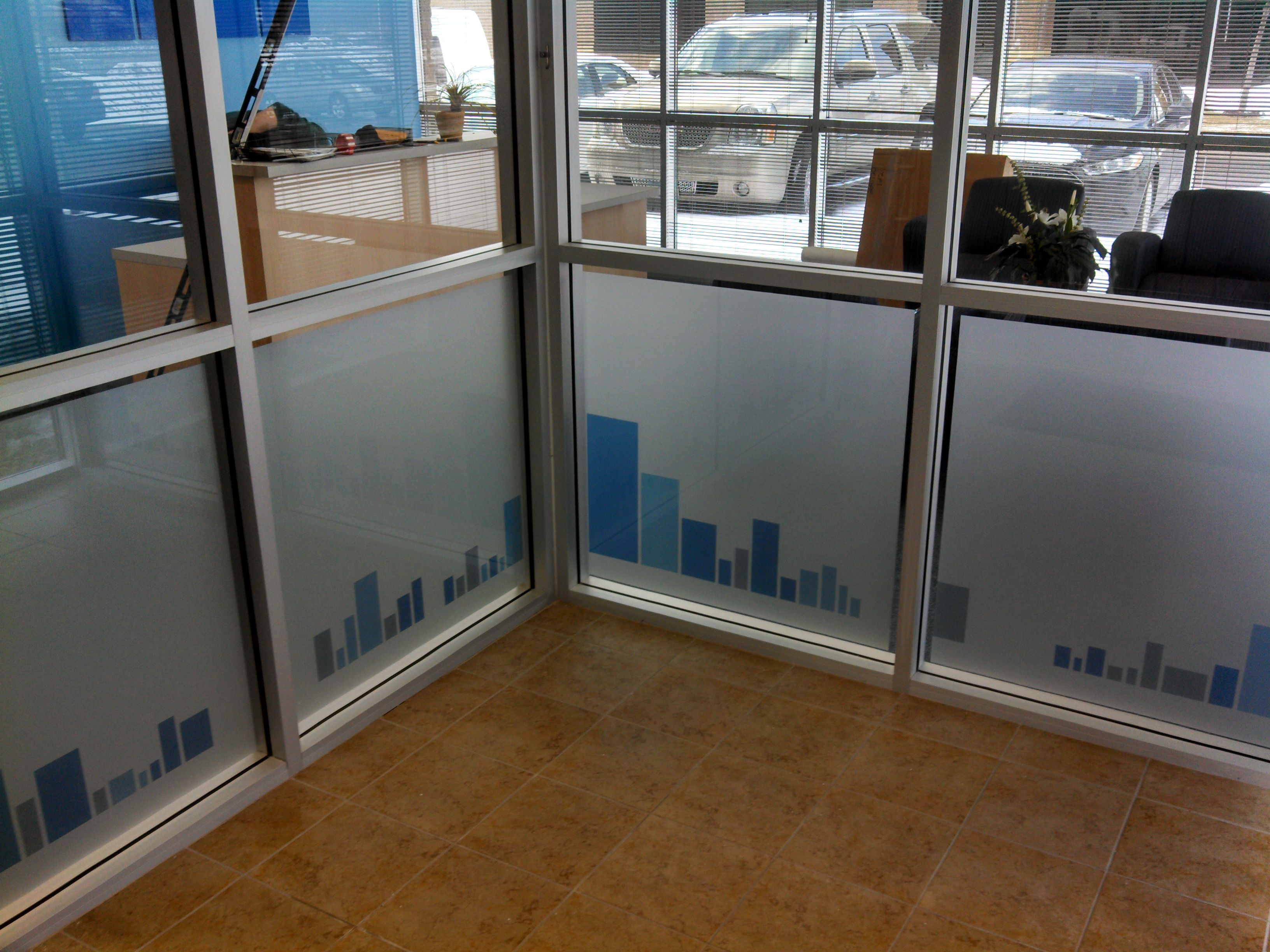 This Frosted Window displays the logo on the entry windows for the