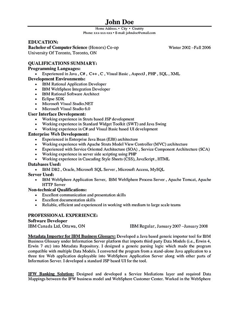 Software Developer Resume Sample Software Developer Resume Includes The  Skills, Abilities And Personalities Of The Software Developer.  Sample Software Developer Resume