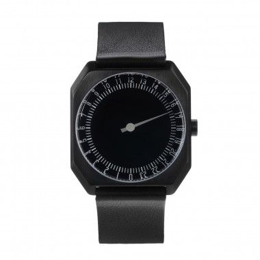 All Black Leather.  Slow watch.  A watch with one hand.