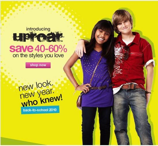 This clothing Ad shows two happy kids with stylish clothes. Giving the audience an idea that with clothes such as these they can be happy and attract the opposite sex, as the individuals in the advertisement did. This shows that the advertisers have successfully used children smiles and emotions to persuade the audience to purchase their products.