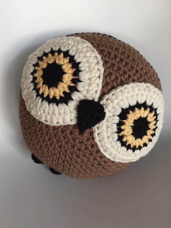 CROCHET OWL PILLOW, Owl Pillow, Crochet Pillow,Brown Pillow | Kissen ...
