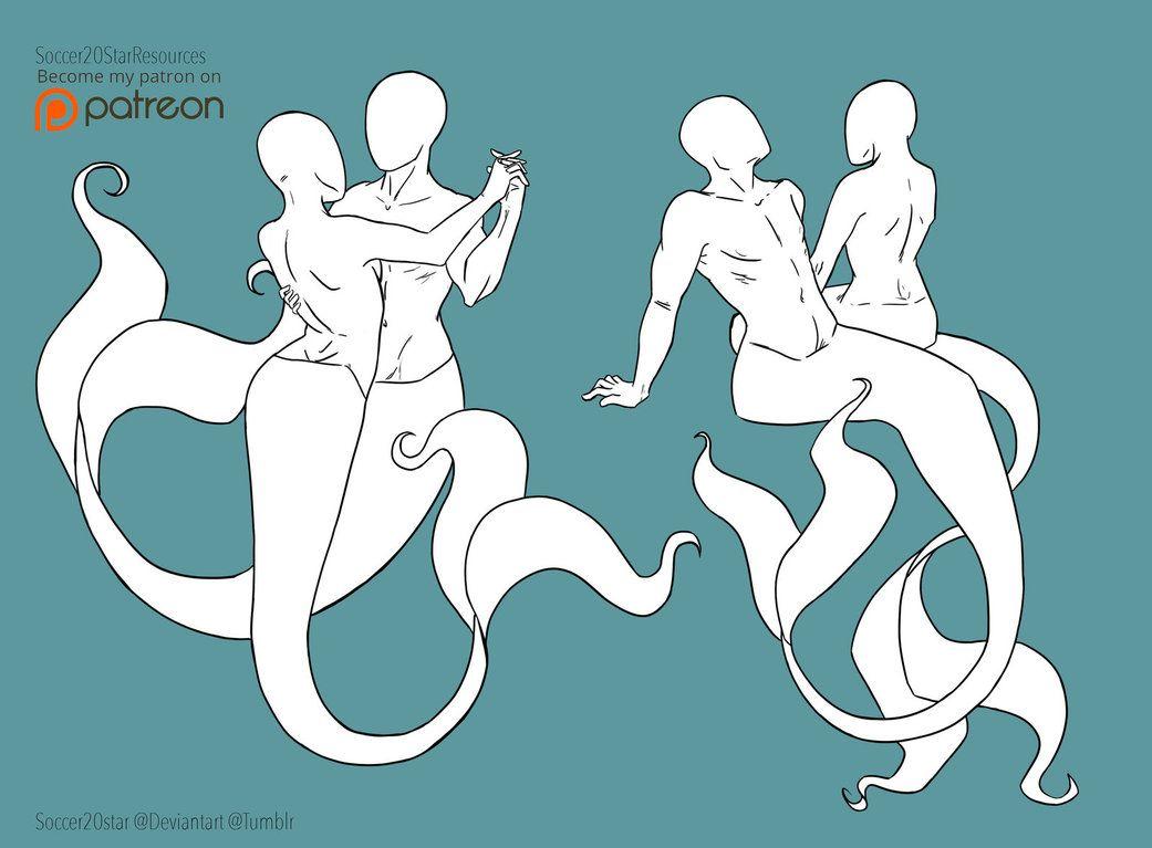 F2U - Mermaid Pose Couple Set by Soccer20Star on DeviantArt