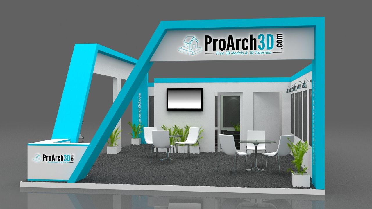 Exhibition Stand 3d Max Download : Stall design d model free mtr side open