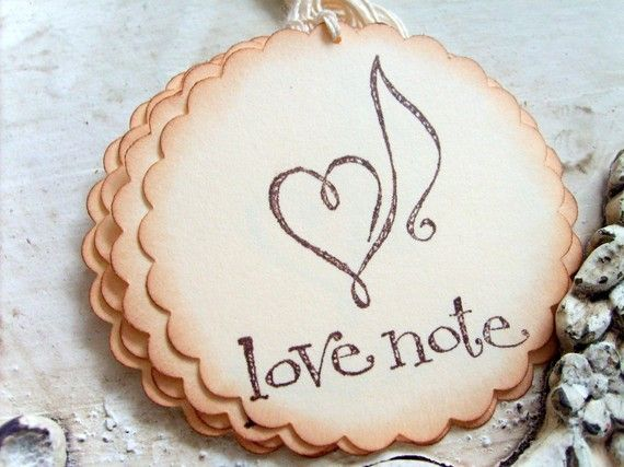 love note music themed paper gift tags hand stamped set of 6
