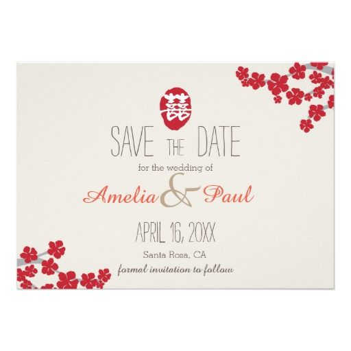 Double Happiness Chinese Wedding - Save the Date Card Weddings - fresh invitation unveiling of tombstone