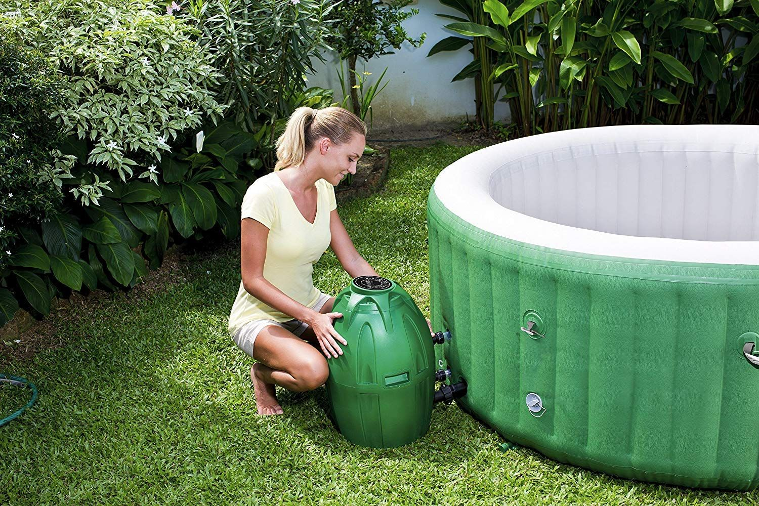 Fast, easy set up inflates using the spa's pump NO