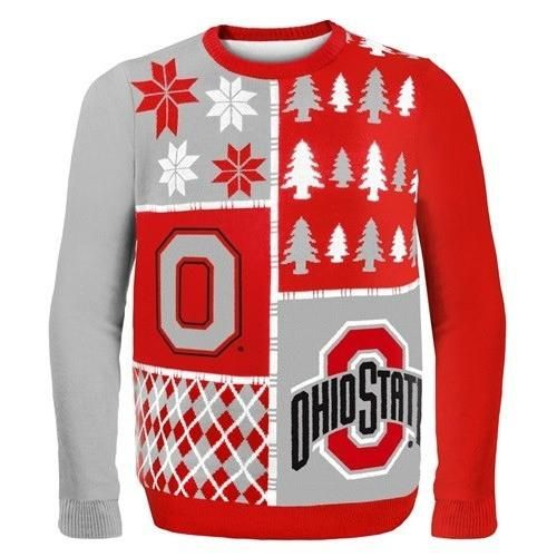 Ohio State Busy Block Ugly Sweater Ohio State Buckeyes Ohio