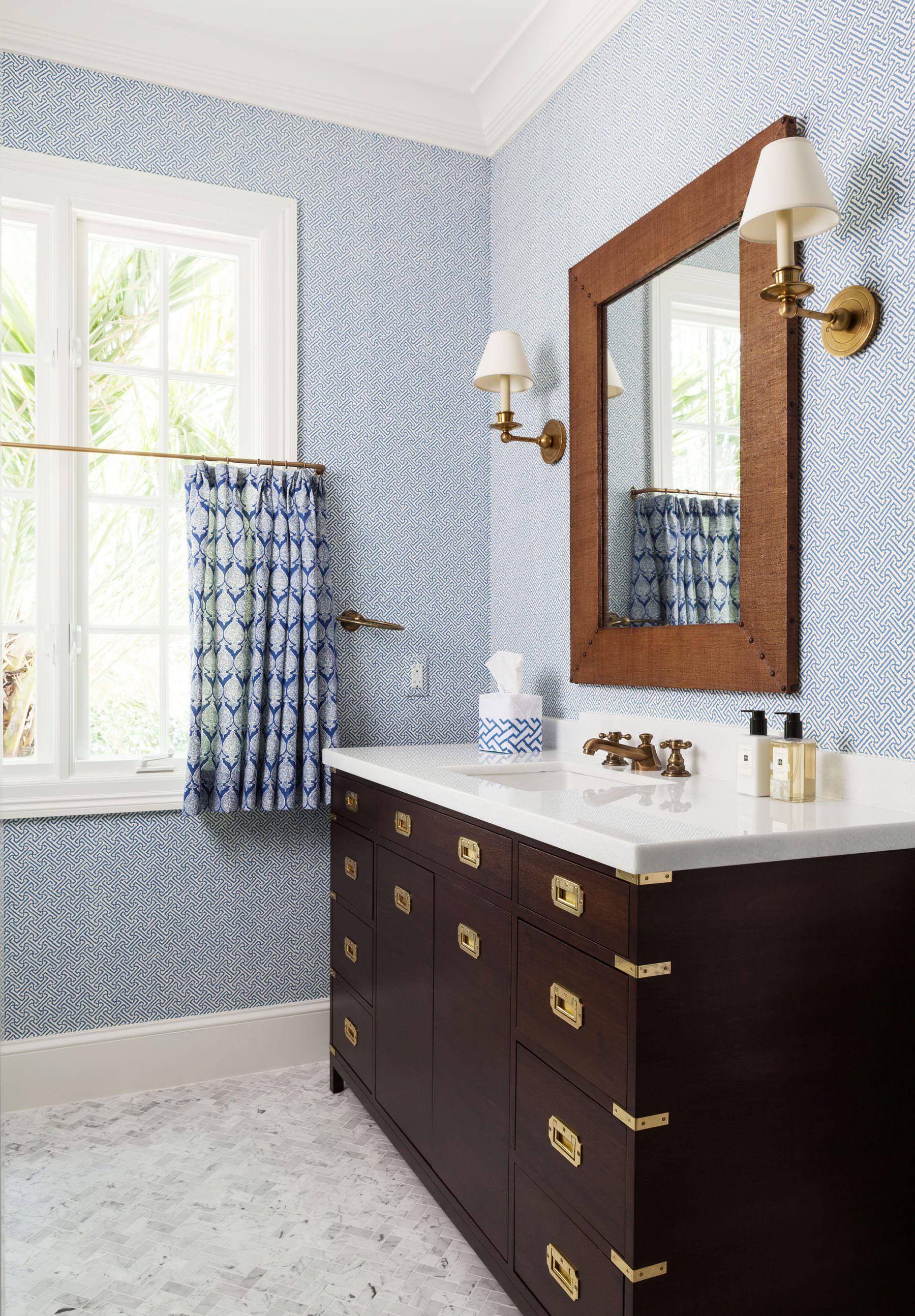 Campaign Style Vanity Brown Bathroom Decor Blue Bathroom Decor
