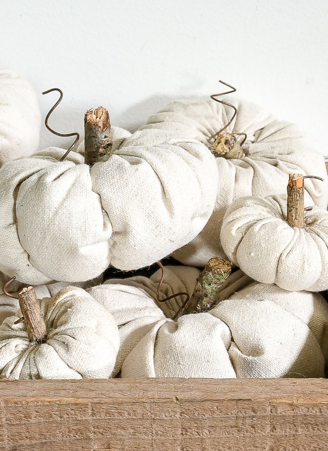 Learn how to make quick, easy and adorable DIY fabric pumpkins for fall! #falldecor #fabricpumpkins #pumpkins #fall #autumn #fallcrafts #diypumpkins