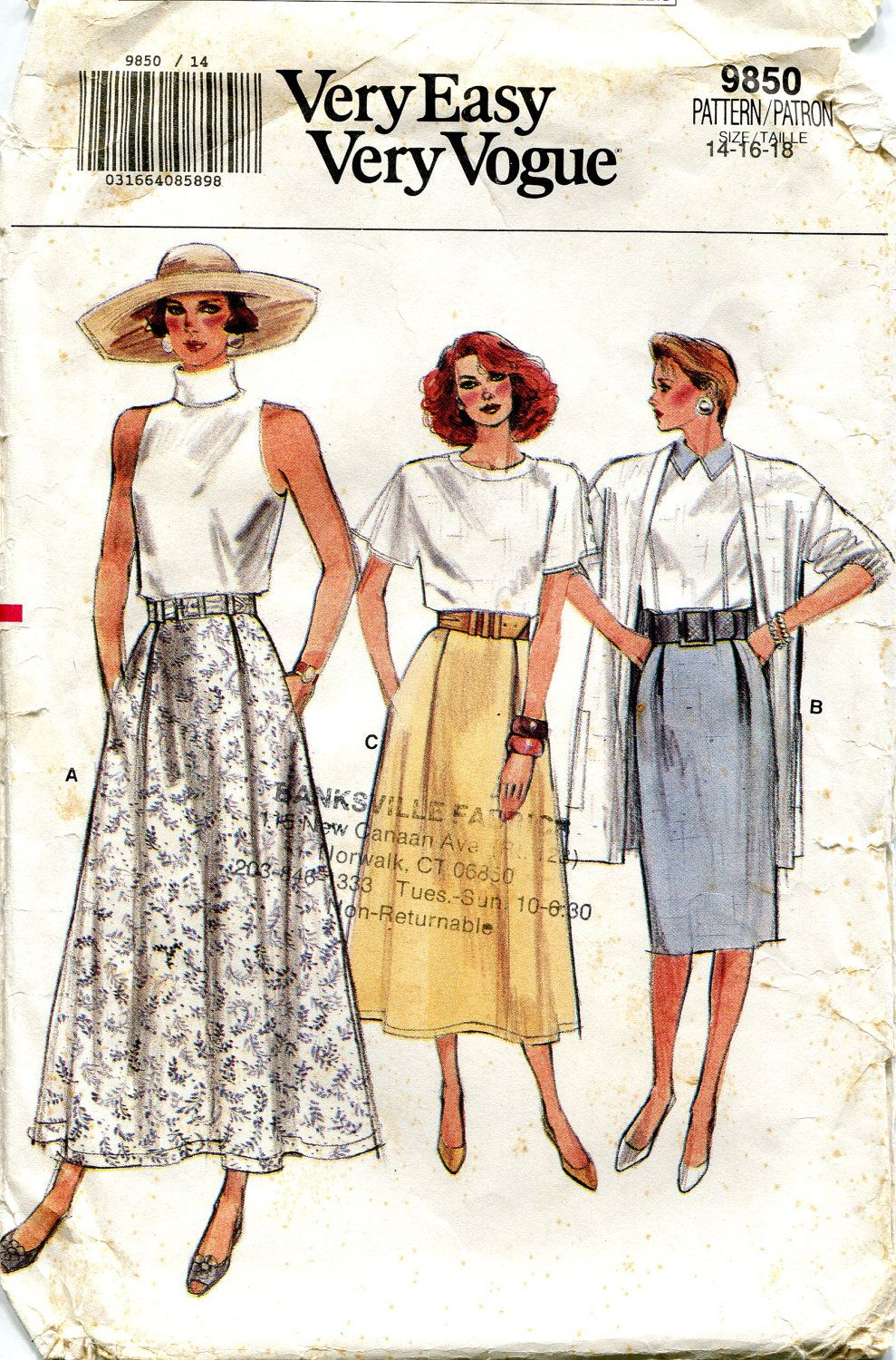 Vintage 1980s Skirt Pattern Very Easy Very Vogue by downthestreet ...