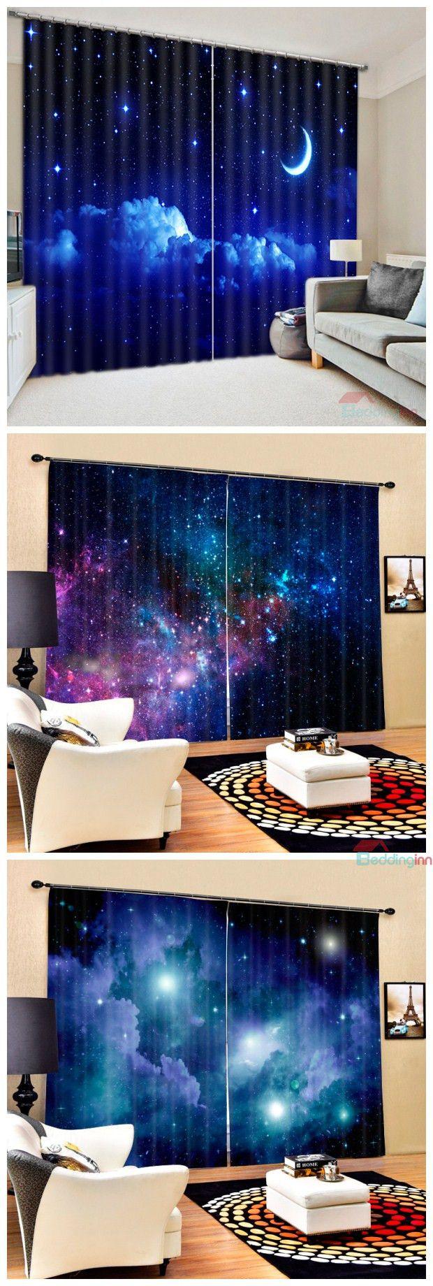 3d Printed Polyester Blackout Gorgeous Dark Blue Galaxy