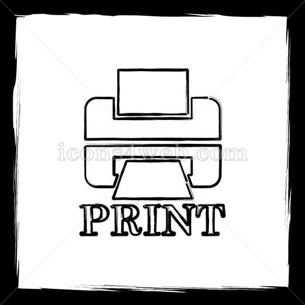 Printer with word PRINT sketch icon Printer with word PRINT sketch icon Printer with word PRINT sketch button Outline design in high resolution and well suited for web or...