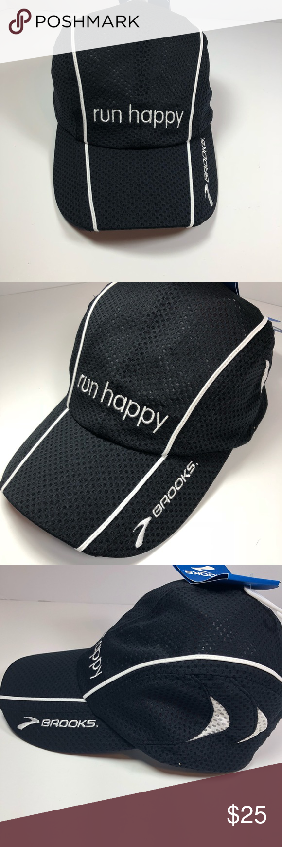 "3ca7daeb Brooks ""Run Happy"" mesh cap New with tags mesh Brooks cap ""Run Happy"" Black/white  one size fits all. Never worn. Brooks Accessories Hats"