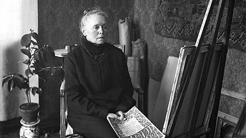 Helene Schjerfbeck Tammisaaressa vuonna 1927.