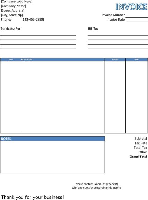 Service Invoice Templates Invoice Template Invoice Template Word Make Invoice