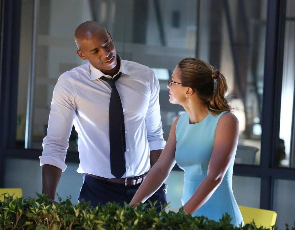 Mehcad Brooks as James Olsen and Melissa Benoist as Kara Danvers a.k.a. Supergirl in CBS' Supergirl show.