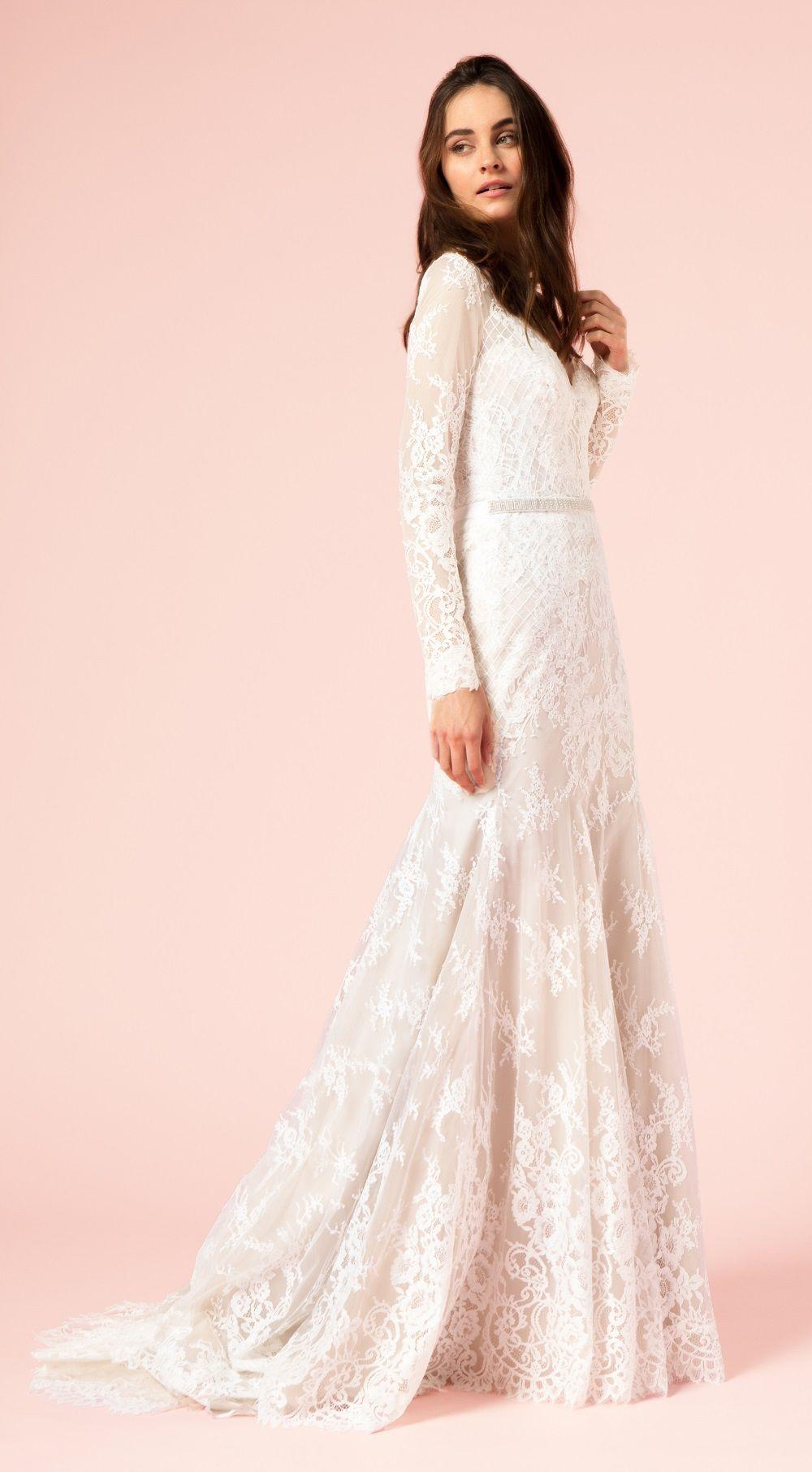 Lace Trumpet Wedding Dress   Long Sleeved Wedding Dresses ...