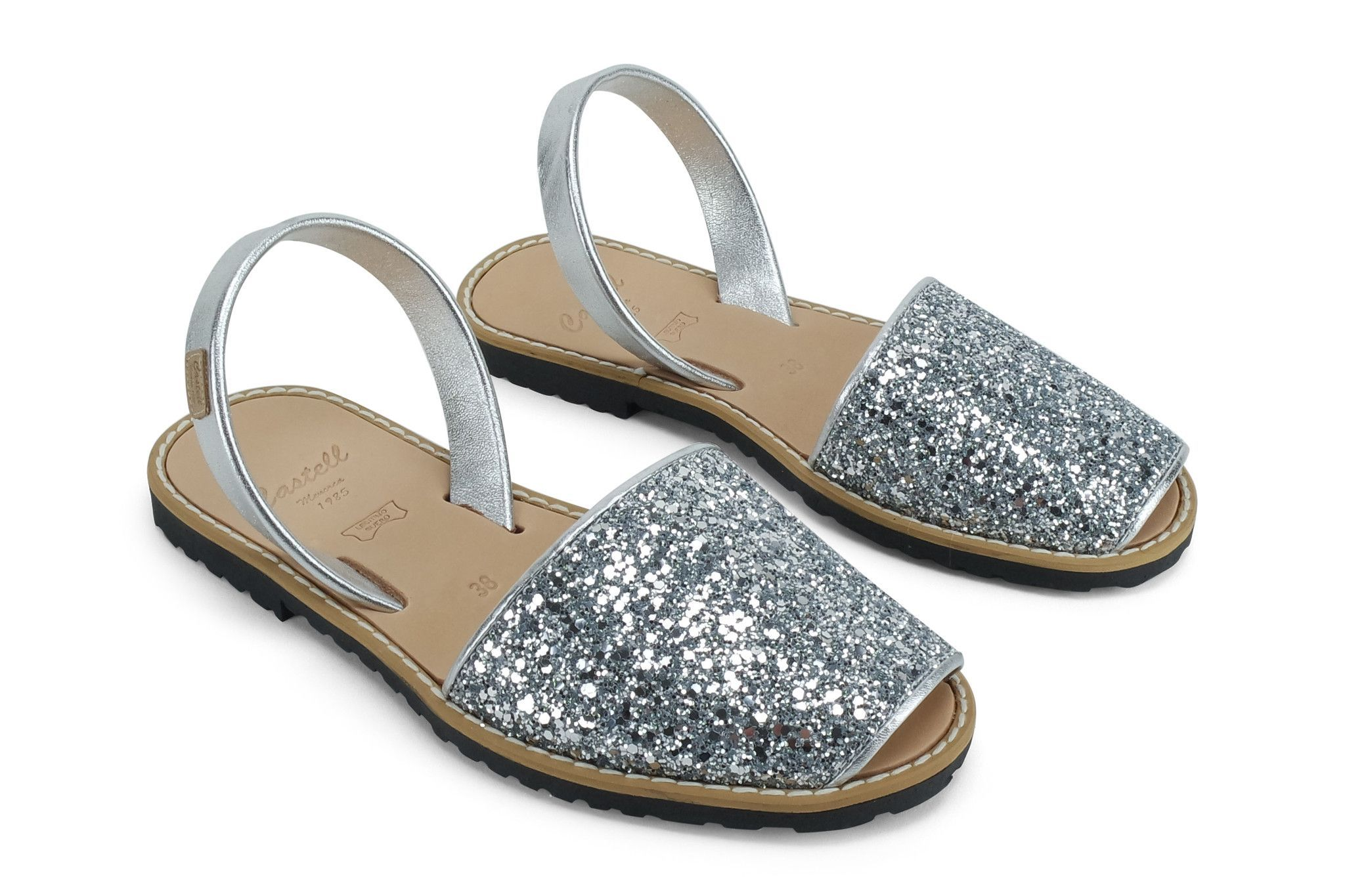 5a7f728261f1 Comfy and chic Sandals in Silver Glitter by Castell at The Avarca Store.