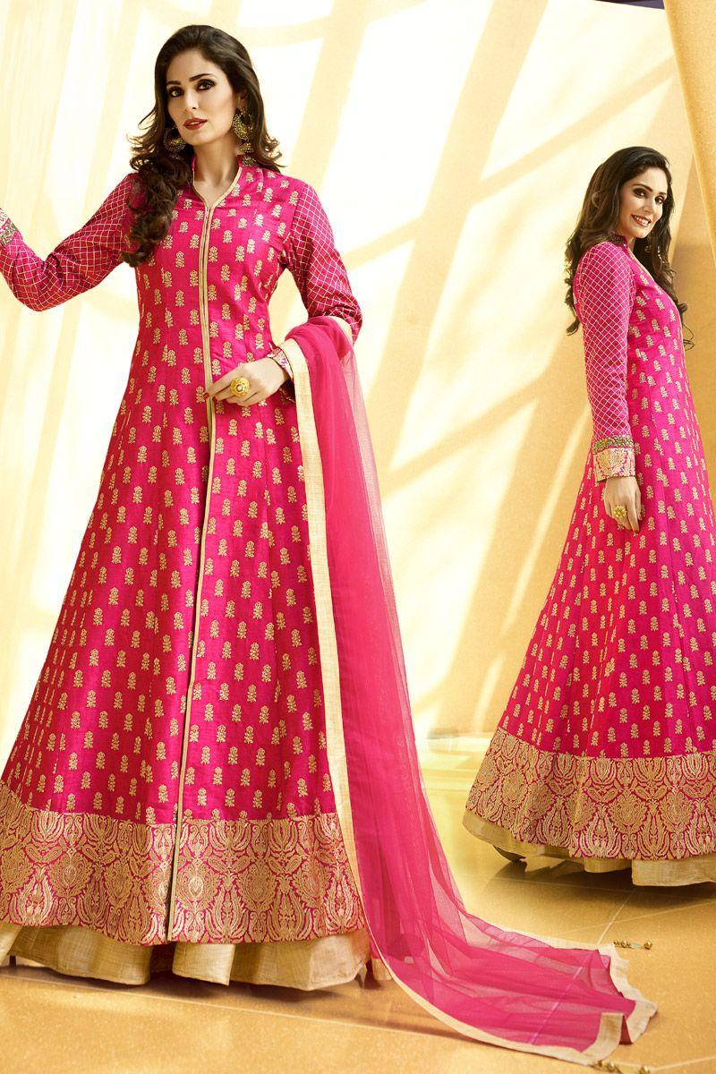 Hot pink color dress  Magenta Color Heavy IndoWestern Designer Lehenga Choli in Raw Silk
