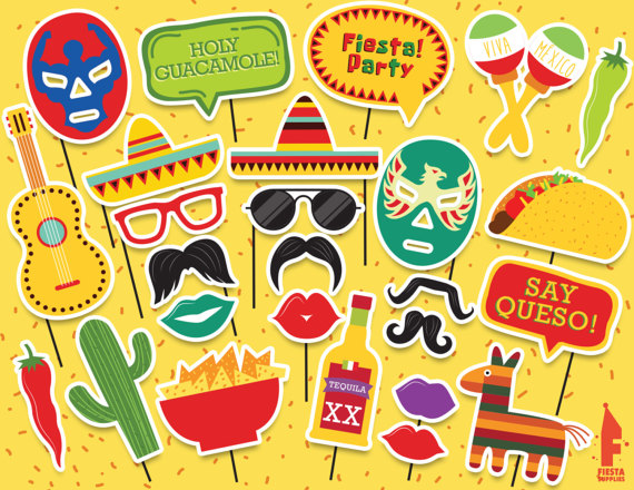 Mexican Party Printable Photobooth Props Mexican Photo Booth
