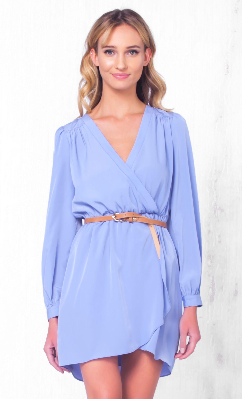 Indie XO That's A Wrap Light Purple Lavender Long Sleeve Cross Wrap V Neck Elastic Tulip Chiffon Mini Dress - Just Ours!