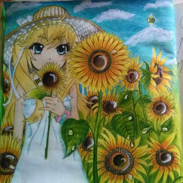 Sunflower Secret Garden Girassol Jardim Secreto Johanna Basford
