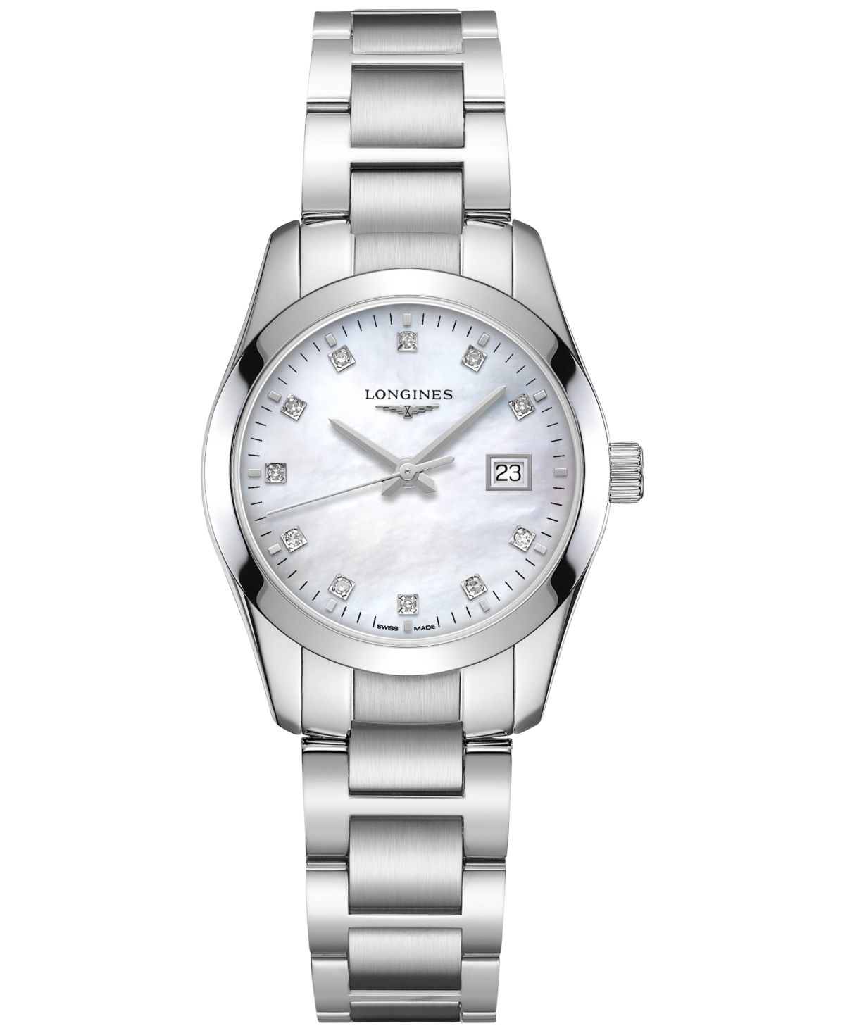 Longines Women's Swiss Conquest Classic Diamond Accent Stainless Steel Bracelet Watch 29.5mm - Stainless Steel #stainlesssteelrolex