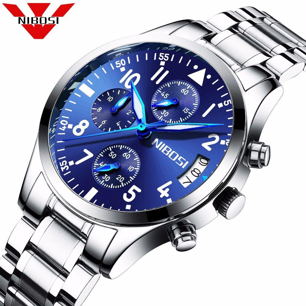 2467d1ff6ce NIBOSI Mens Watches Top Brand Luxury Business Quartz Watch Men s Stainless  Steel Band Clocks relogio masculino horloges mannen. Yesterday s price  US   99.95 ...