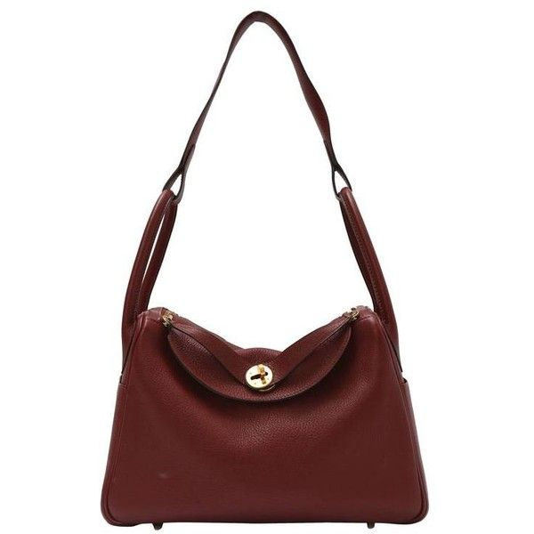 421d455a165 Preowned Hermes Lindy Burgundy Bag With Gold Hardware ( 5,000) ❤ liked on  Polyvore featuring bags, handbags, red, white handbags, hermès, strap purse,  ...