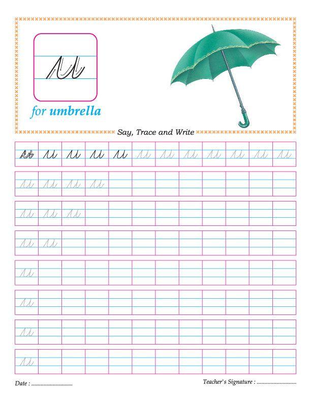 Cursive small letter u practice worksheet | cursive | Pinterest ...