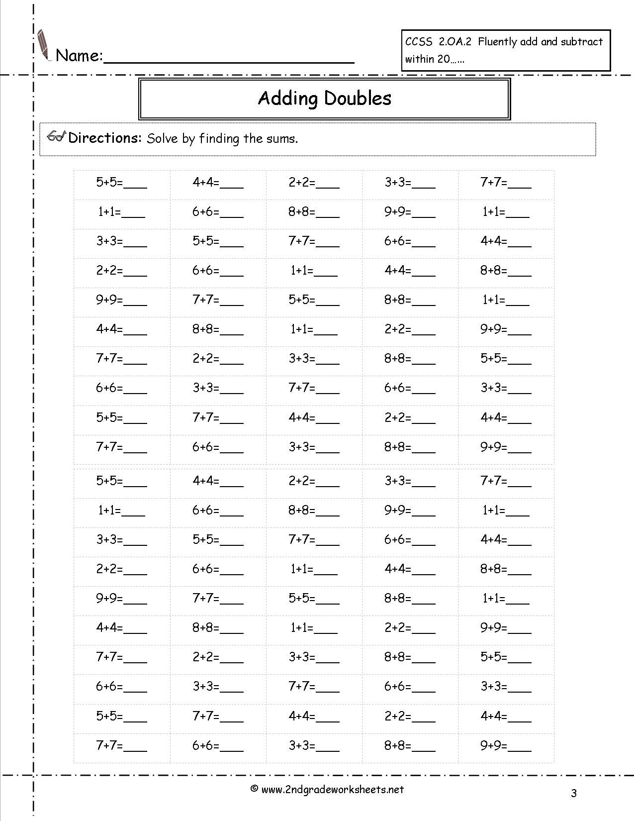 Doubles Facts Worksheets Amp Doubles 1 Worksheets