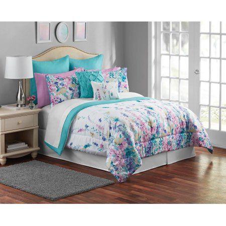Mainstays Multi Color Floral 12 Piece Bedding Comforter Set