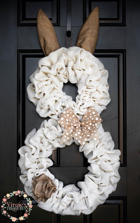 Photo of Items similar to Front Door Wreath, Super Cute Bunny Burlap Wreath, Spring Bunny Wreath, Burlap Bunny, Off White Burlap Bunny, Large Bunny Wreath, Door Decor on Etsy