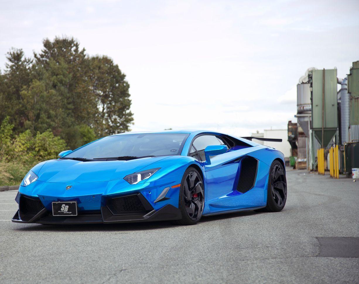 Blue Chrome Lamborghini Aventador Super Car Lambo