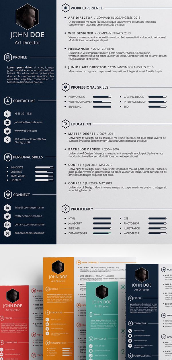 Free Creative Resume Template (PSD, ID) Design Pinterest Free